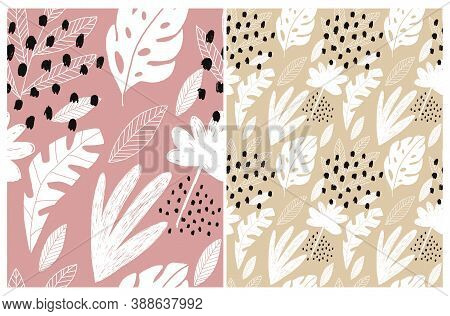 Abstract Floral Seamless Vector Patterns With White Hand Drawn Tropical Leaves And Black Spots Isola