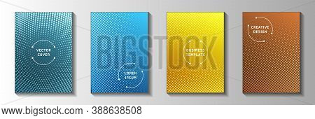 Grunge Circle Faded Screen Tone Front Page Templates Vector Batch. Industrial Booklet Perforated Scr