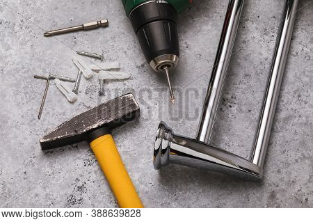 Hammer, Drill, Towel Holder And Table Mounting Tools. Concept For Installing A Bathroom Towel Holder