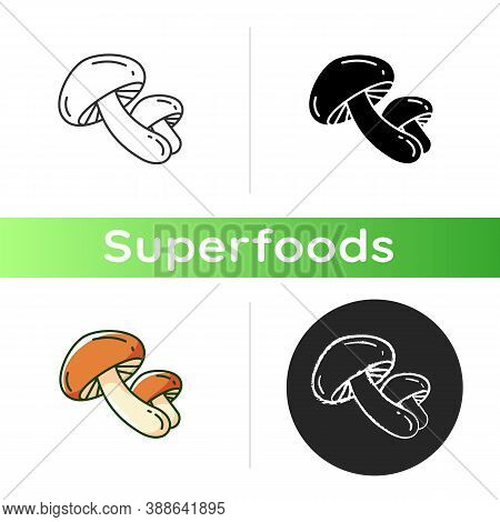 Shiitake Mushrooms Icon. Organic Foods Components. Eco Meal Preparation. Healthy Ingredients Ideas.