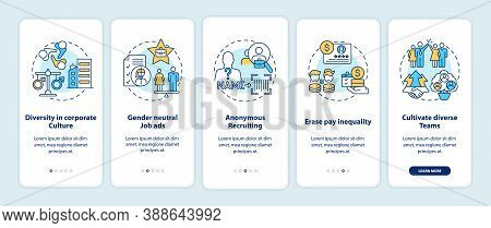 Gender Diversity Implementation Tips Onboarding Mobile App Page Screen With Concepts. Job Recruiting