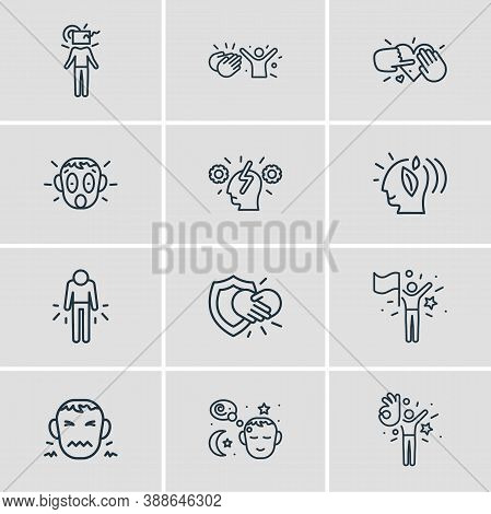 Vector Illustration Of 12 Emoji Icons Line Style. Editable Set Of Shocked, Admire, Cognitive Process