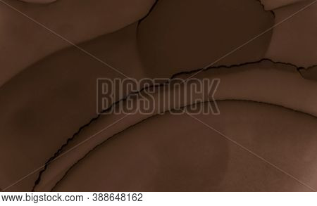 Liquid Chocolate Texture. Brown Coffee Background. Color Biscuit Surface. Watercolor Choco Design. A