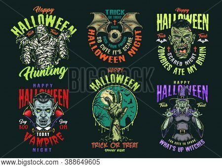 Halloween Vintage Colorful Logos With Scary Mummy Witch Vampire And Corpse Heads Zombie Hand Human E