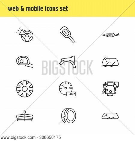 Vector Illustration Of 12 Details Icons Line Style. Editable Set Of Car Trip Meter, Tyre, Carburetor