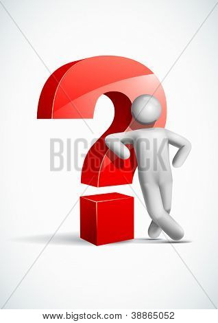 3d vector man leaning question mark symbol. All elements are layered separately in vector file. Mesh used EPS10 file.