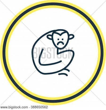 Vector Illustration Of Gibbon Icon Line. Beautiful Zoology Element Also Can Be Used As Monkey Icon E