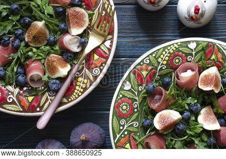 Salad With Figs Arugula Blue Cheese Walnut And Meat