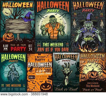 Halloween Vintage Colorful Posters With Scary Zombie Witch And Cauldron Grim Reaper With Scythe Corp