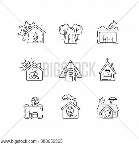 Human Shelters Linear Icons Set. Temporary Residence. Night Time Shelter Opportunity. Warming Center