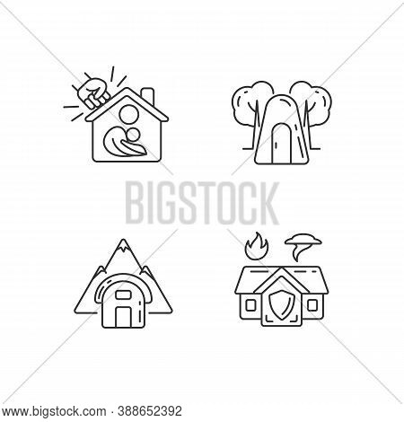 Temporary Safe Residence Linear Icons Set. Violence Victims Support. Single-person Air Raid Shelter.