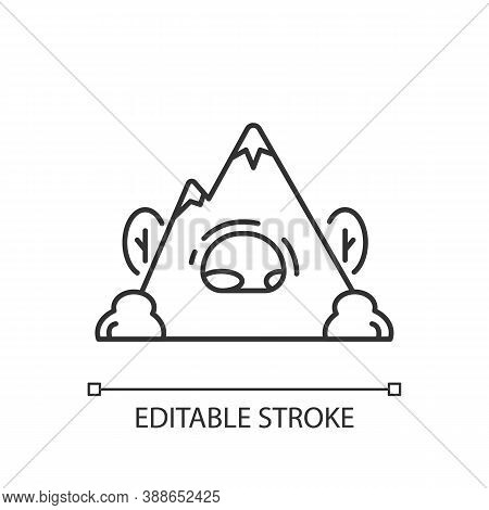 Rock Shelter Linear Icon. Rockhouse. Crepuscular Cave. Hiking. Bluff Shelter. Camping. Thin Line Cus