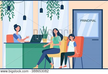 Unhappy Mom Talking With Angry Principal Director About Son Isolated Flat Vector Illustration. Carto