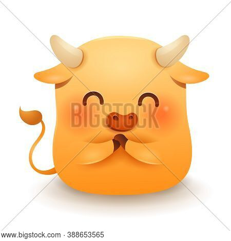 Cute Little Ox Greeting Gong Xi Gong Xi. Chinese New Year. Year Of The Ox. Chinese Zodiac: Ox - The