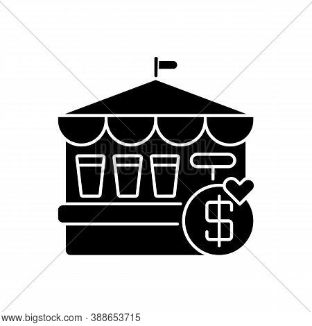 Fete Black Glyph Icon. Traditional Market Festival, Public Trade Fair Silhouette Symbol On White Spa