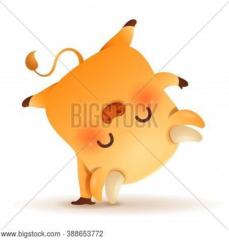 Cute Little Ox Handstand Pose. Chinese New Year. Year Of The Ox. Chinese Zodiac: Ox - The Symbol Of