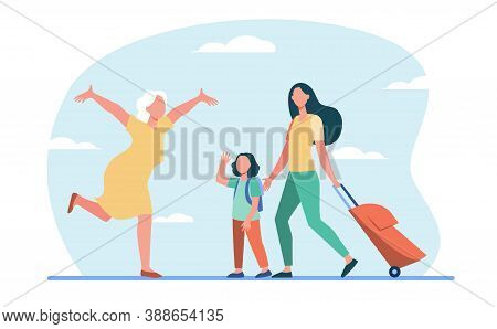 Mom And Little Daughter With Luggage Meeting With Grandma. Senior Woman Running With Open Arms Flat