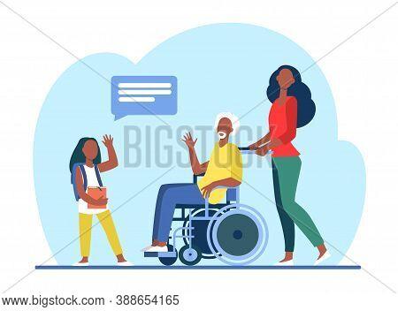 Senior Man In Wheelchair Meeting With Granddaughter. Girl Visiting Grandpa Flat Vector Illustration.