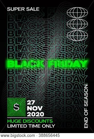 Neon Black Friday Typography Banner, Poster Or Flayer Template. Creative Wave Grid Background Concep