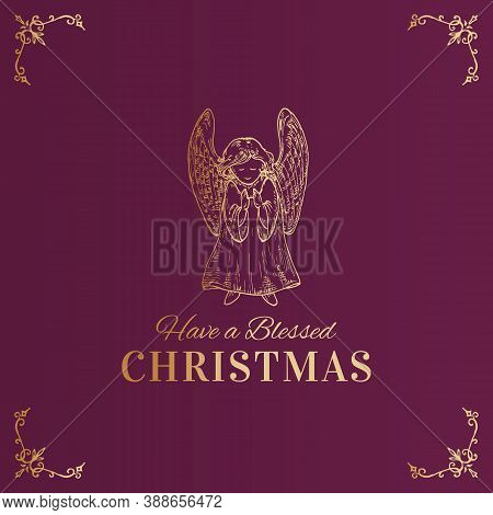 Merry Christmas Abstract Vector Classy Label, Sign Or Card Template. Hand Drawn Golden Praying Angel