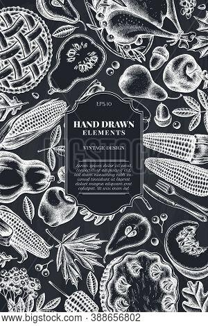 Card Design With Chalk Pumpkin, Fork, Knife, Pears, Turkey, Pumpkin Pie, Apple Pie, Corn, Apples Row