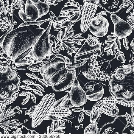 Seamless Pattern With Hand Drawn Chalk Pumpkin, Fork, Knife, Pears, Turkey, Pumpkin Pie, Apple Pie,