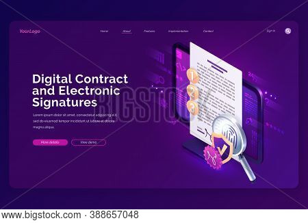 Digital Contract And Electronic Signature Isometric Landing Page, E-signature On Document At Pc Scre