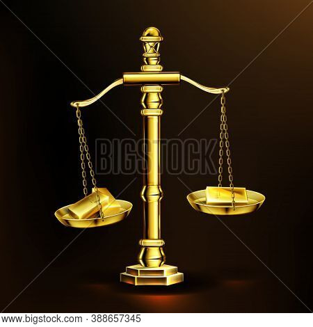 Gold Bars On Scales, Realistic Golden Weights With Precious Metal Bullion Blocks. Money Balance, Inv
