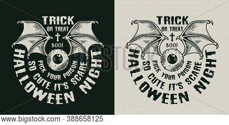 Halloween Night Vintage Label With Human Eyeball And Bat Wings In Monochrome Style Isolated Vector I