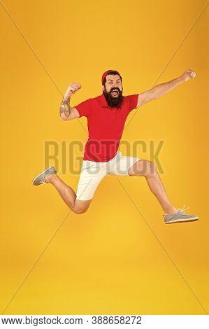 Healthy Guy Feeling Good. Inspired Concept. Towards Fun. Enjoying Active Lifestyle. Happy Guy Jumpin