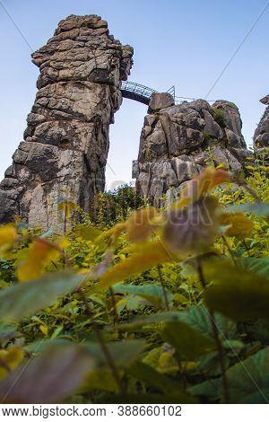 Externsteine. Sandstone Rock Formation Located In The Teutoburg Forest, North Rhine Westphalia, Germ