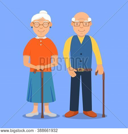 Old Man Lady.granny Family Character. Grandmother And Grandfather Cartoon.