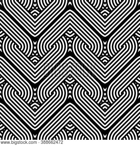 Design Seamless Monochrome Waving Pattern. Abstract Interlaced Background. Vector Art
