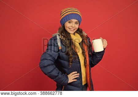 Protein Cocktail. Happy Child Enjoy Drinking Tea Or Coffee. Little Girl Hold Drinking Mug. Healthy D