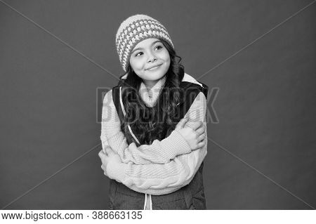 Baby Its Cold Outside. Happy Girl In Warm Wear Red Background. Child Care And Health. Winter Child C