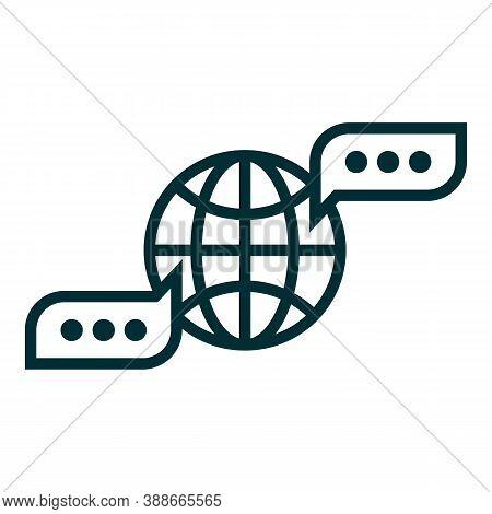 Communication Icon. International Global Communication Concept Label. Chat Bubbles And Globe Contour