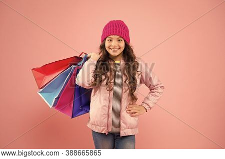 Cyber Monday Is Back. Small Child Enjoy Cyber Monday Shopping. Happy Girl Carry Paper Bags. Cyber Mo