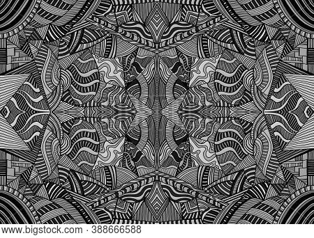 Monochrome Psychedelic Kaleidoscope Background With Many Crazy Geometric Pattern