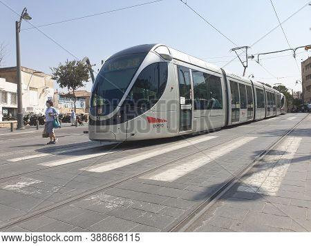 Jerusalem, Israel. September 15, 2020. Modern Jerusalem Streetcar (tram) Locomotive Produced By City