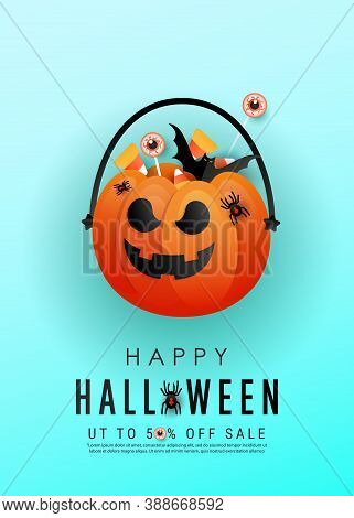 Vertical Halloween Horror Story Poster With Orange Scary Pumpkin Face, Colored Candies, Bats On A Bl