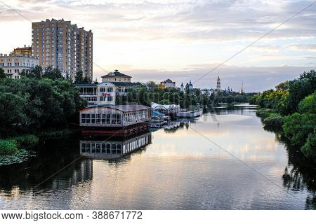 Tambov, Russia - September, 19, 2020: Landscape with the image of an embanKment in Tambov city, Russia