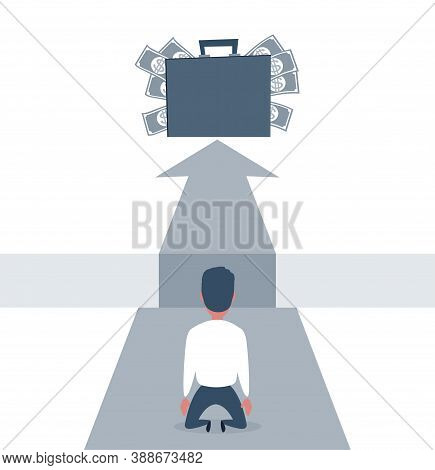 Sad Businessman Kneeling And Looking Down Over Big Gap On Way And Money In Suitcase At The Top Of It