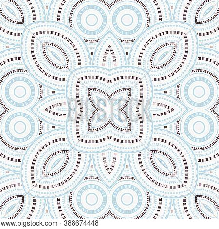 Modern Portugese Azulejo Tile Seamless Rapport. Ethnic Structure Vector Swatch. Carpet Print Design.