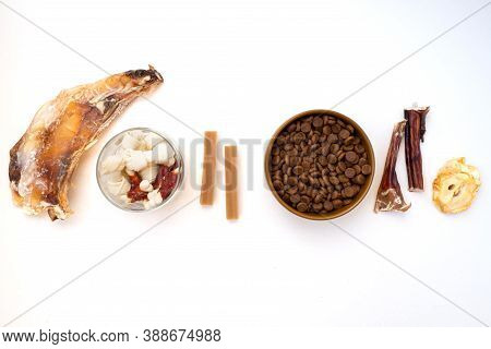 Variety Of Dog Treats. Dod Delicacy Food On White Background.
