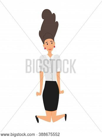 Jumping Business People. Business Woman Jumps On A White Background. Vector Illustration Of A Flat D