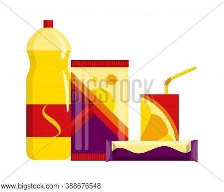 Snack Product Set. Fast Food Snacks Drinks, Juice And Sweet Bars Isolated On White Background. Class