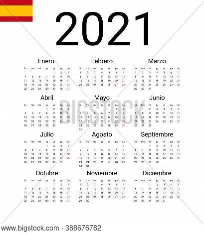 Spanish 2021 Calendar. Vector Design Template Start From Monday. All Months For Wall Calendar