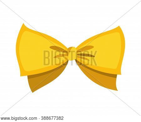 Gold Bow. Cartoon Vector Yellow Luxury Design Element Of Wrap Pack. Decor Element Template. Celebrat