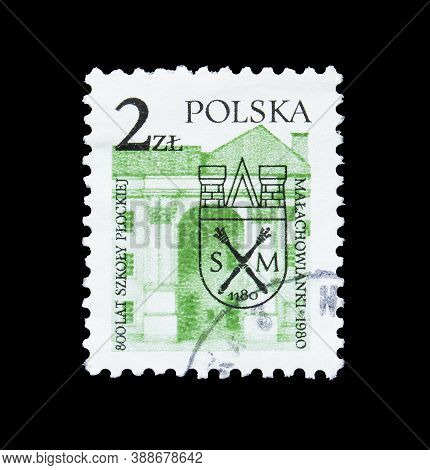 Poland - Circa 1950 : Cancelled Postage Stamp Printed By Poland, That Shows Malachowski Lyceum Schoo
