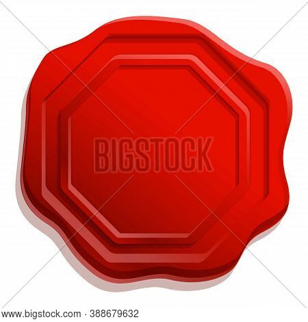 Emboss Wax Seal Icon. Cartoon Of Emboss Wax Seal Vector Icon For Web Design Isolated On White Backgr